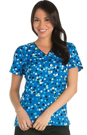 Clearance Cherokee Women's Mock Wrap Dot Print Scrub Top