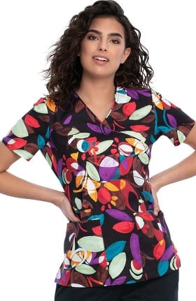 Fashion Prints by Cherokee Women's Leaves And Petals Print Scrub Top