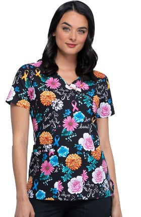 Clearance Fashion Prints by Cherokee Women's Love Is Beautiful Print Scrub Top