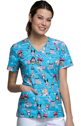 Fashion Prints by Cherokee Women's Mock Wrap Animal Print Scrub Top