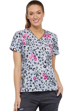 Clearance Fashion Prints by Cherokee Women's Mock Wrap Animal Print Scrub Top