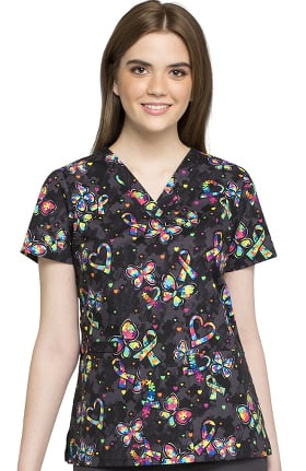 Fashion Prints by Cherokee Women's V-Neck Autism Awareness Print Scrub Top