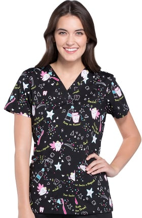 Fashion Prints by Cherokee Women's V-Neck Dental Print Scrub Top