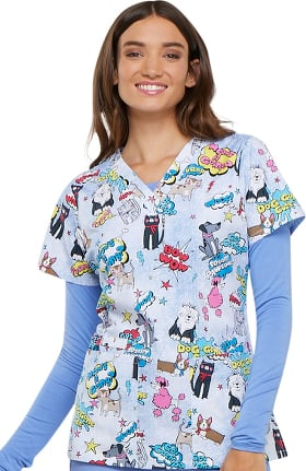 Fashion Prints by Cherokee Women's V-Neck Dog Print Scrub Top