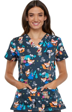 Fashion Prints by Cherokee Women's V-Neck Fox Print Scrub Top