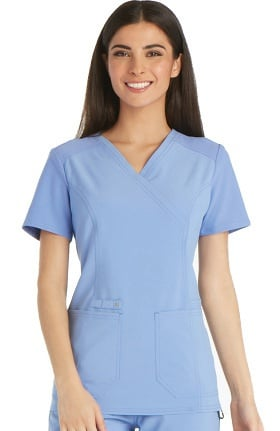 Clearance iflex™ by Cherokee Women's Mock Wrap Knit Back Panels Solid Scrub Top
