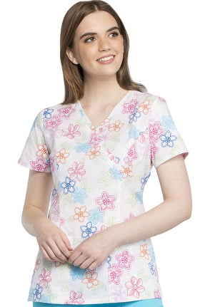 Clearance Fashion Prints by Cherokee Women's Mock Wrap Floral Print Scrub Top