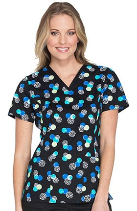 Fashion Prints by Cherokee Women's V-Neck Geometric Print Scrub Top