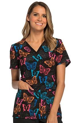Fashion Prints by Cherokee Women's V-Neck Contrast Panel Butterfly Print Scrub Top