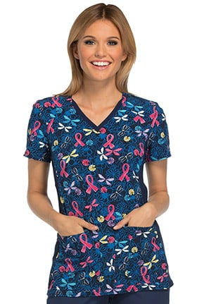 Breast Cancer Awareness by Cherokee Women's V-Neck Contrast Panel Butterfly Print Scrub Top