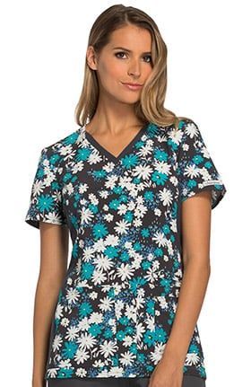 Fashion Prints by Cherokee Women's V-Neck Contrast Panel Floral Print Scrub Top