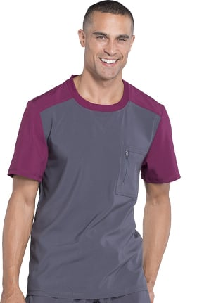 Clearance Infinity by Cherokee Men's Crew Neck Colorblock Solid Scrub Top