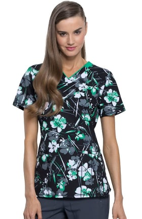 Clearance Infinity by Cherokee Women's V-Neck Botanical Gestures Print Scrub Top