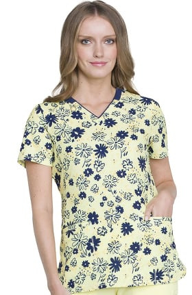 Infinity by Cherokee Women's V-Neck Floral Print Scrub Top