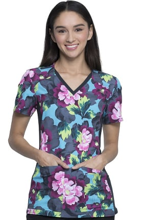 iflex by Cherokee Women's V-Neck Knit Panel Floral Print Scrub Top