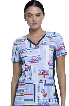 iflex™ by Cherokee Women's V-Neck Knit Panel Owl Print Scrub Top