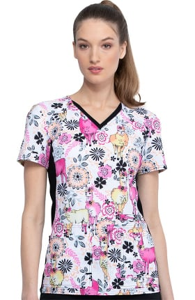 Clearance iflex by Cherokee Women's Lovely Llamas Print Scrub Top