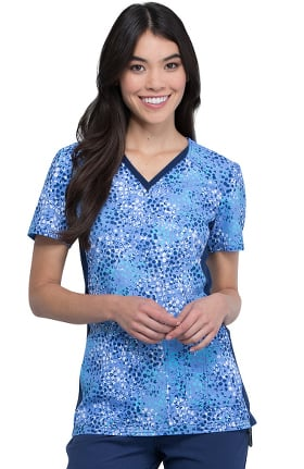 iflex by Cherokee Women's Taken With Texture Print Scrub Top