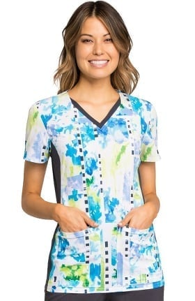 Clearance iflex by Cherokee Women's V-Neck Knit Panel Abstract Print Scrub Top