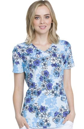 Fashion Prints by Cherokee Women's V-Neck Floral Print Scrub Top