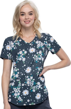 Fashion Prints by Cherokee Women's Daydream Believer Print Scrub Top