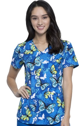 Fashion Prints by Cherokee Women's V-Neck Butterfly Print Scrub Top