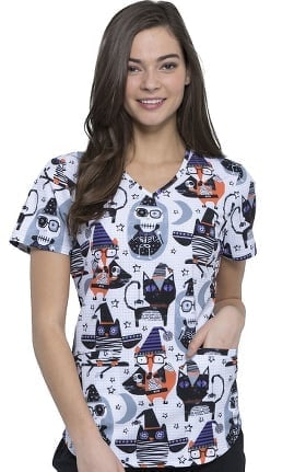Fashion Prints by Cherokee Women's V-Neck Halloween Print Scrub Top