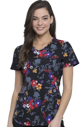 Clearance Fashion Prints by Cherokee Women's V-Neck Floral Print Scrub Top