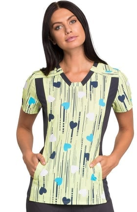 iflex™ by Cherokee Women's V-Neck Knit Panel Heart Print Scrub Top