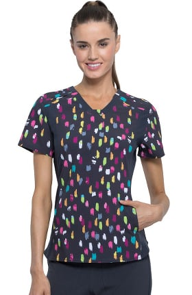 Clearance iflex by Cherokee Women's V-Neck Painterly Pops Print Scrub Top