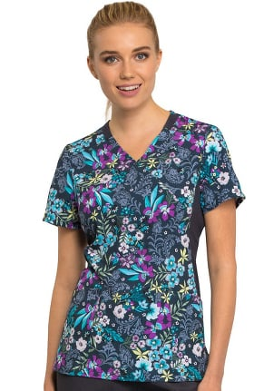 iflex™ by Cherokee Women's Mock Wrap Knit Panel Floral Print Scrub Top