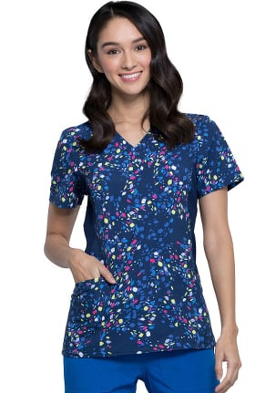 iflex™ by Cherokee Women's Mock Wrap Geos On The Move Print Scrub Top