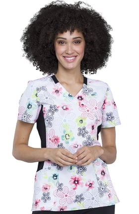Clearance iflex by Cherokee Women's Mock Wrap Knit Panel Floral Print Scrub Top