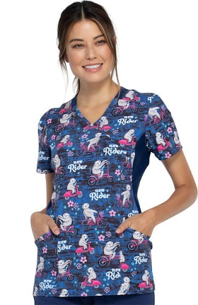 Clearance iflex by Cherokee Women's Slow Rider Print Scrub Top