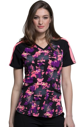 Clearance Infinity by Cherokee Women's V-Neck Abstract Print Scrub Top