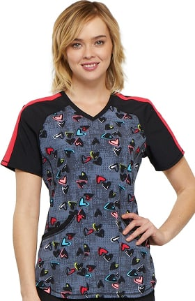 Clearance Infinity by Cherokee Women's V-Neck Heart Print Scrub Top