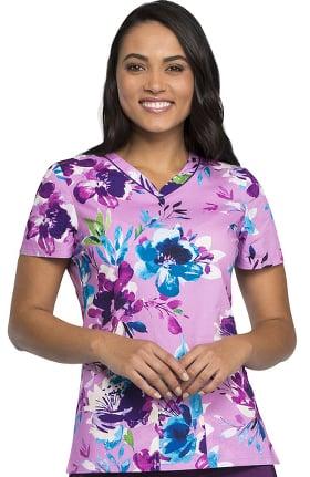 Clearance Fashion Prints by Cherokee Women's V-Neck Floral Print Scrub Top