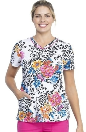 Fashion Prints by Cherokee Women's Leopard Bloom Print Scrub Top