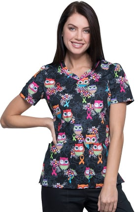 Fashion Prints by Cherokee Women's V-Neck Lets Give A Hoot Print Scrub Top