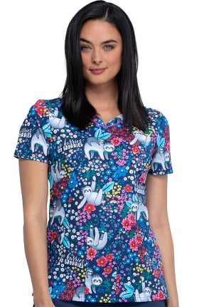 Fashion Prints by Cherokee Women's No Hurries No Worries Print Scrub Top
