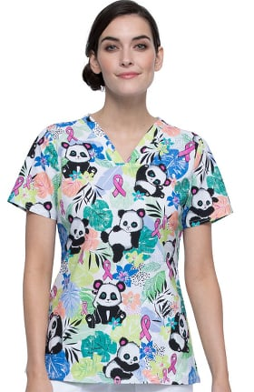 Fashion Prints by Cherokee Women's Garden Panda Monium Print Scrub Top
