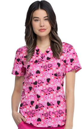 Clearance Fashion Prints by Cherokee Women's Happy In My Heart Print Scrub Top