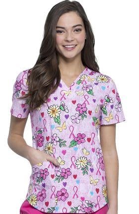 Fashion Prints by Cherokee Women's V-Neck Pink Ribbon Print Scrub Top