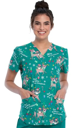 Fashion Prints by Cherokee Women's Owl Be Home Print Scrub Top