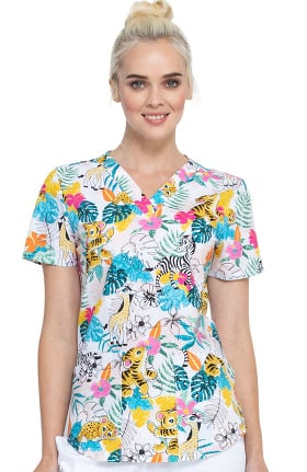 Fashion Prints by Cherokee Women's Tropical Playground Print Scrub Top