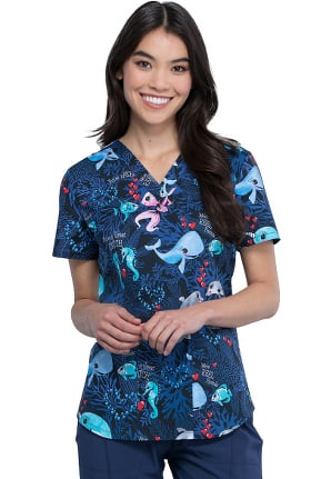 Fashion Prints by Cherokee Women's You Are Fintastic Print Scrub Top