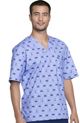 Fashion Prints by Cherokee Men's V-Neck Nautical Print Scrub Top