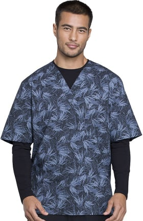 Fashion Prints by Cherokee Men's V-Neck Island Print Scrub Top