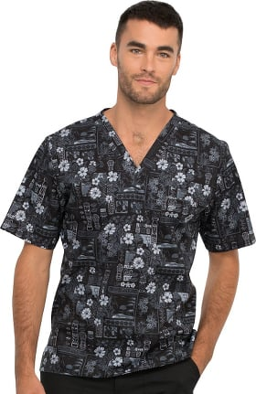 Fashion Prints by Cherokee Men's Its Tiki Time Print Scrub Top