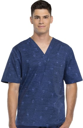Fashion Prints by Cherokee Men's V-Neck Palm Tree Print Scrub Top